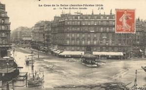 Devant la Gare Saint-Lazare en janvier 1910…