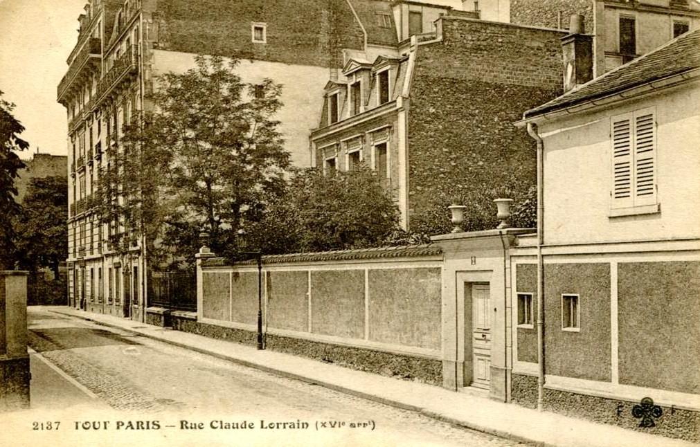 2, rue Claude Lorrain, 16ème (depuis 1946: 2, rue Charles-Marie Widor). 2-rue-claude-lorrain